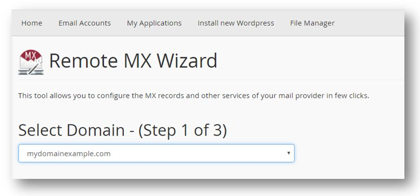 Remote MX Wizard page