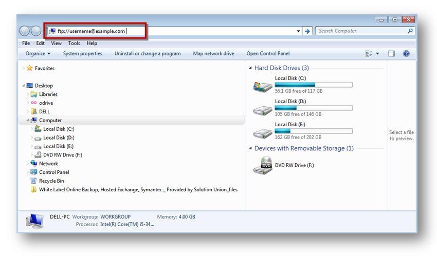 use FTP via Windows Explorer