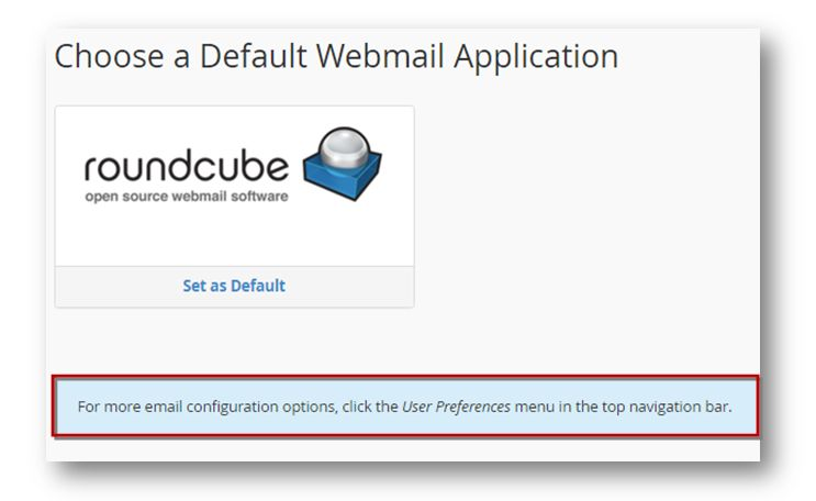 default webmail application