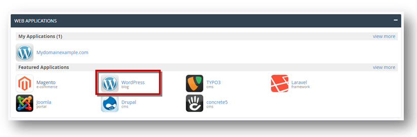 web applicaties cPanel