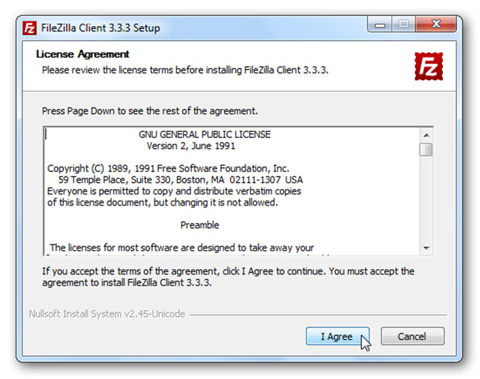 WordPress FileZilla
