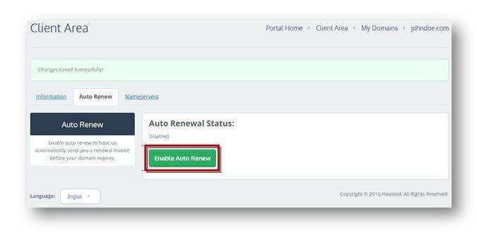 auto renew domain