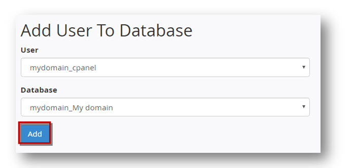 add user MySQL database
