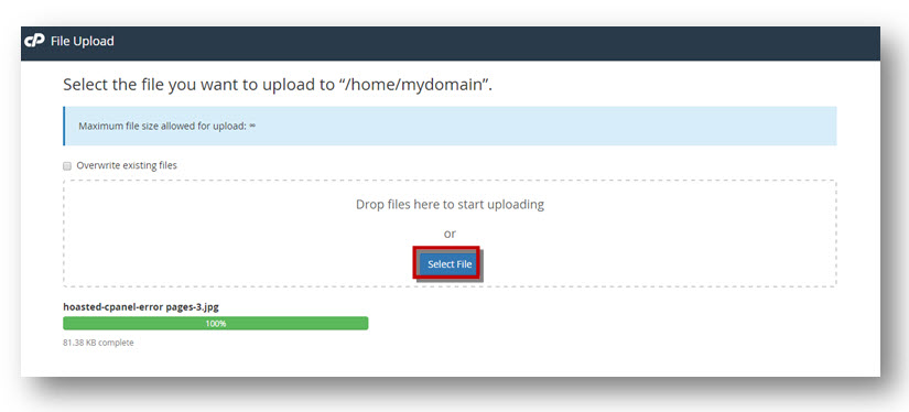file upload cpanel