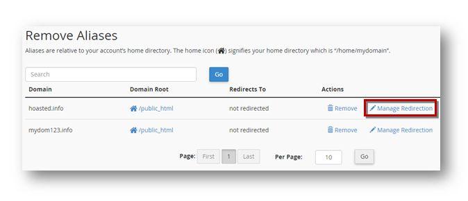 Domain Alias Redirection