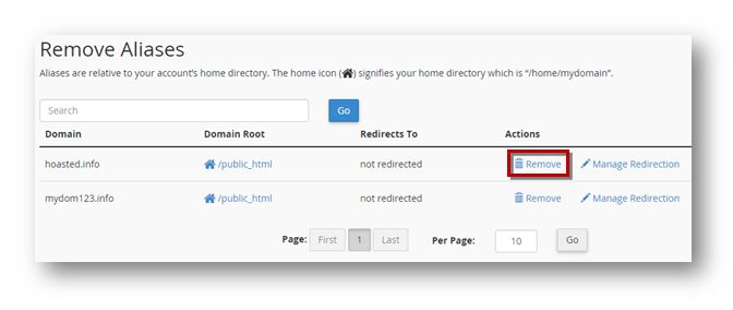Disable Redirection domain