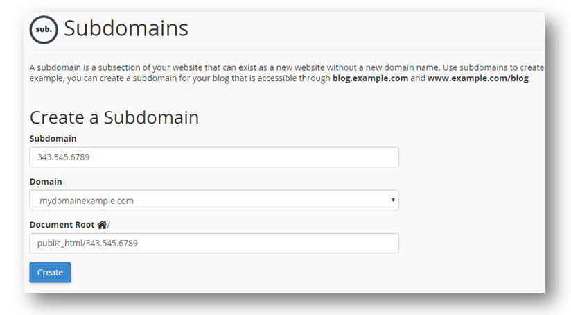 add subdomain cpanel