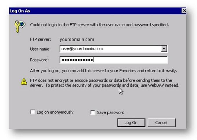 FTP login venster