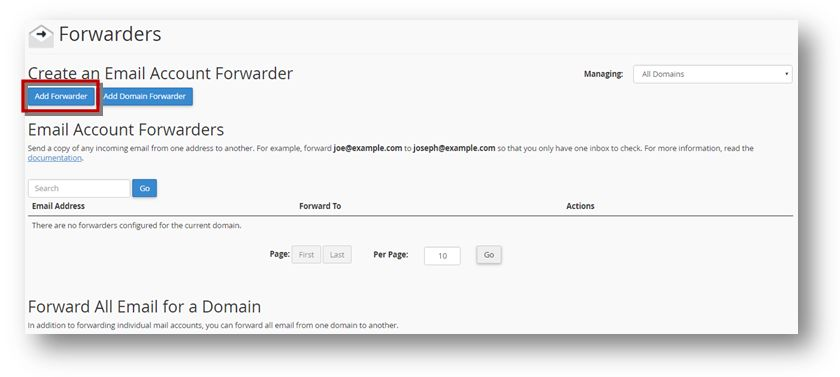 e-mail forwarder page