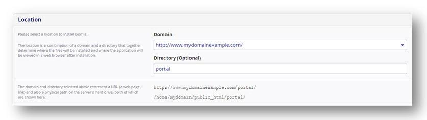 Installatie pagina for Joomla